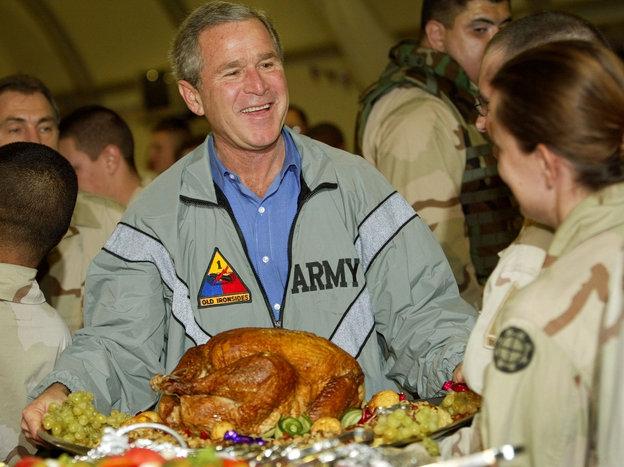 Bush visiting troops