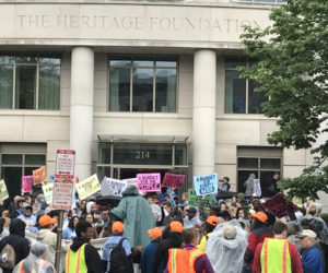 heritage foundation protest