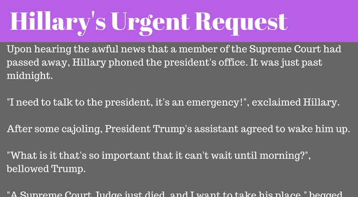 When Hillary Heard a Supreme Court Justice Died, She Called President Trump...